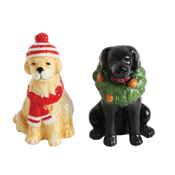 SALE!  Ceramic Dog Salt & Pepper Set