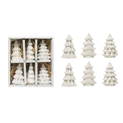 White Stoneware Trees