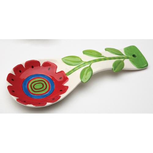 LTD QTY!  Red Sunflower Spoon Rest