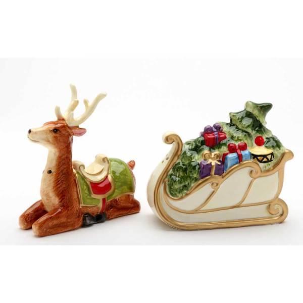 Fancy Reindeer & Sleigh Salt & Pepper