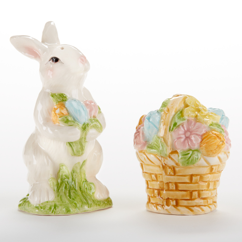 SALE!  Bunny & Basket Salt & Pepper Set