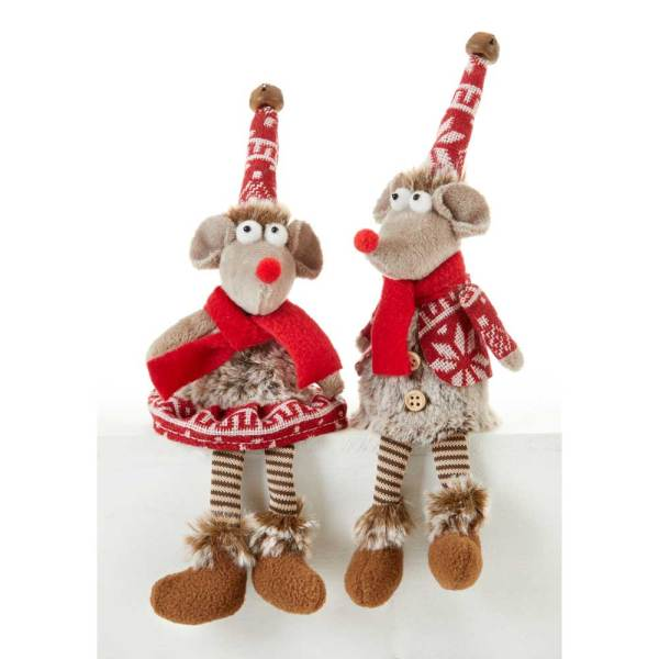 SALE!  Christmas Sitting Mouse Couple