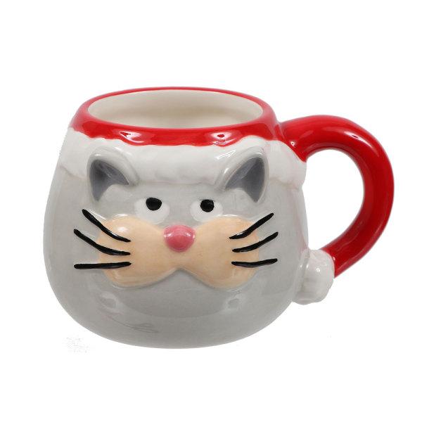 Santa Cat Embossed Mug