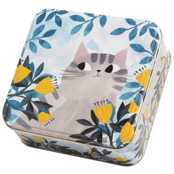 SALE!  Cat with Flowers Medium Tin