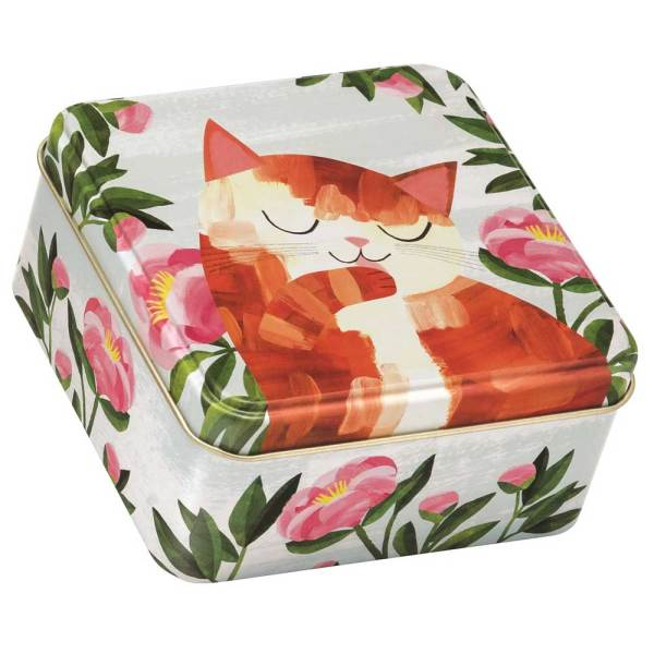 Orange Cat Square Tin
