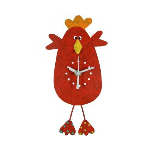 Chicken Wall Clock Red