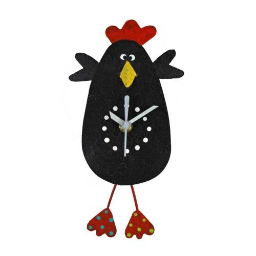 Chicken Wall Clock Black