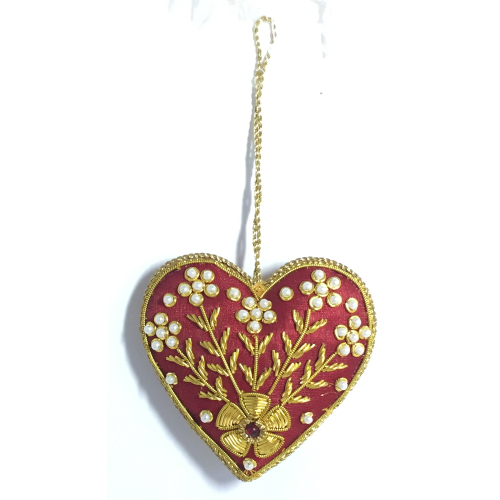 SO!  Fancy Beaded Heart Ornament
