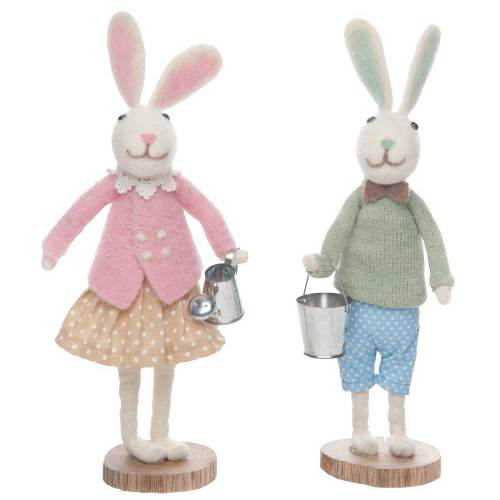LTD QTY!  Felt Garden Bunny Pair