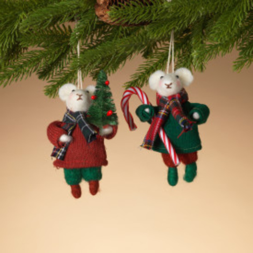 Mouse Couple Holiday Ornaments