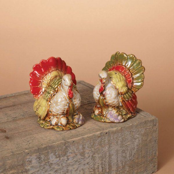 LTD QTY!  Ceramic Turkey Salt & Pepper