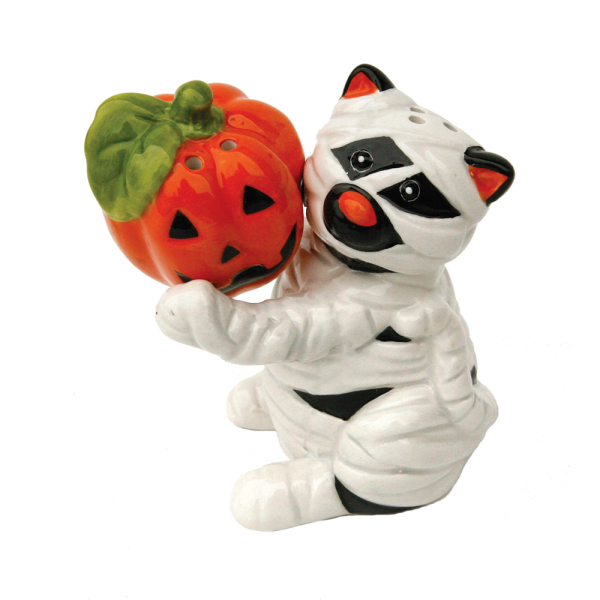LTD QTY!  Mummy Cat & Pumpkin Salt & Pepper Set
