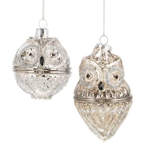 Owl Treasure Box Ornament Set