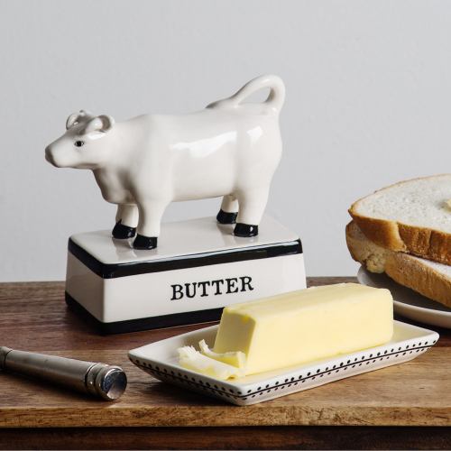 SOS!  White Cow Covered Butter Dish