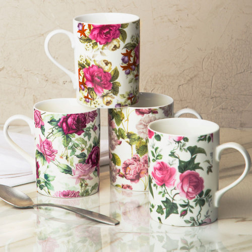 Victorian Rose Chintz Mugs