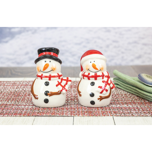 SOS!  Snowmen with Scarves Salt & Pepper Set