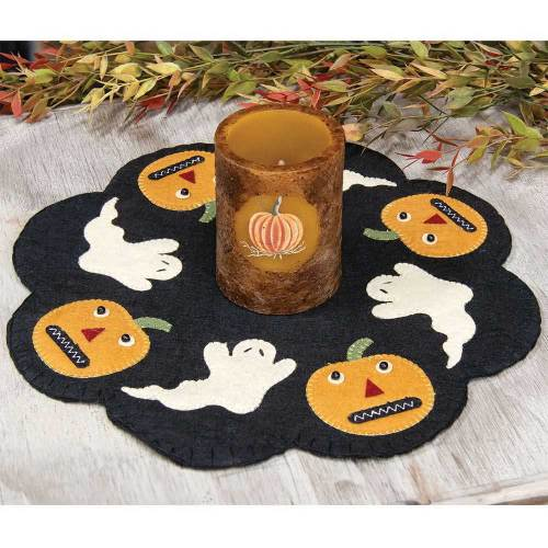 SALE!  Halloween Felt Mat with Pumpkin Candle