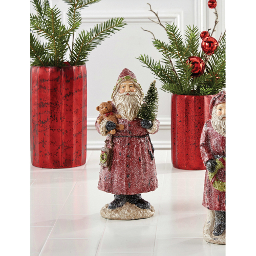 Vintage Santa With Bear & Tree