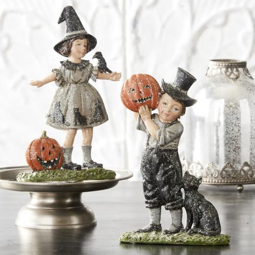 Boy & Girl in Halloween Costumes