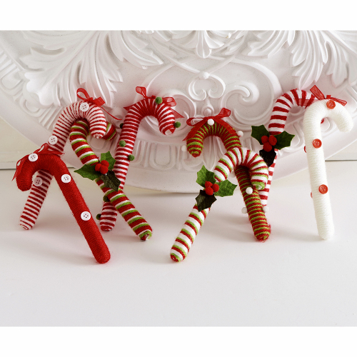 Candy Cane Yarn Ornaments
