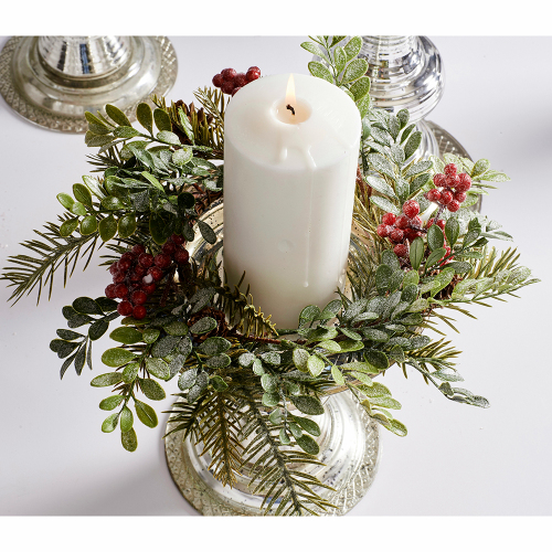 Boxwood, Berries & Fir Candle Ring