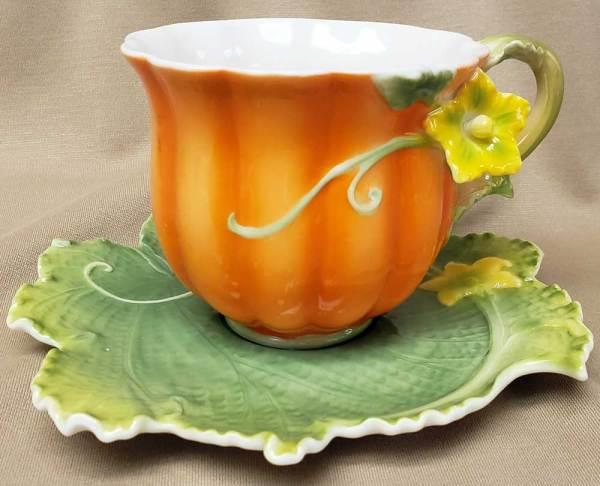 Fancy Pumpkin Cup & Saucer