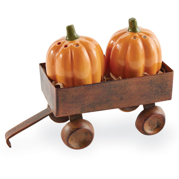 SOS!  Pumpkins in Wagon Salt & Pepper Set