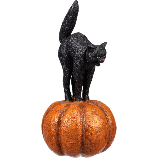 Cat on Pumpkin Figure