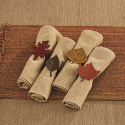 SALE!!  LTD QTY! Fall Leaves Napkin Ring Set