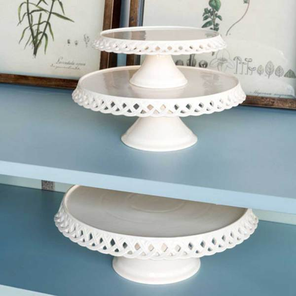 SALE!  Lattice Work Ceramic Cake Plates