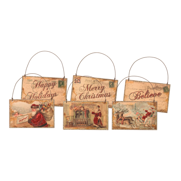 Believe Postcard Ornament Set