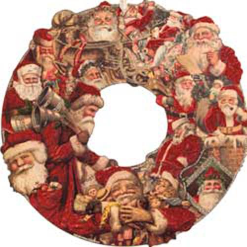 """Vintage Santa Postcard Wreath 16"""""""