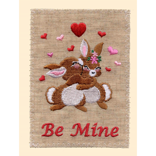 SALE!  Be Mine Embroidered Linen Card