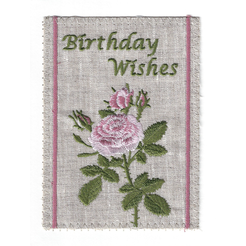 Birthday Pink Roses Embroidered Linen Card