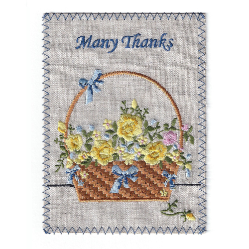Many Thanks Basket Embroidered Linen Card