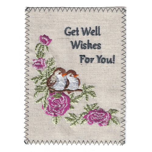 Get Well Embroidered Linen Card