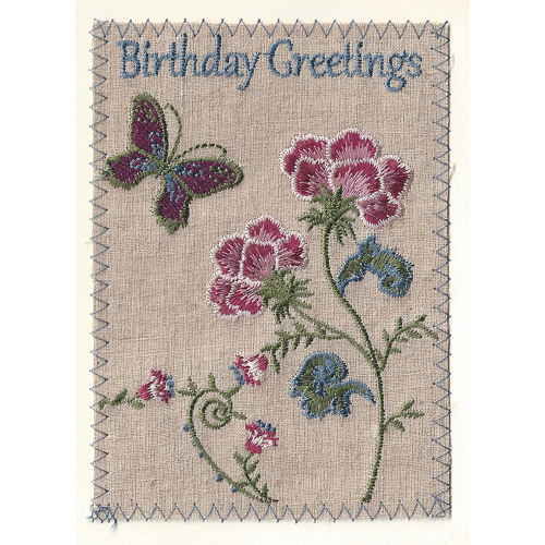 Birthday Greetings Embroidered Linen Card