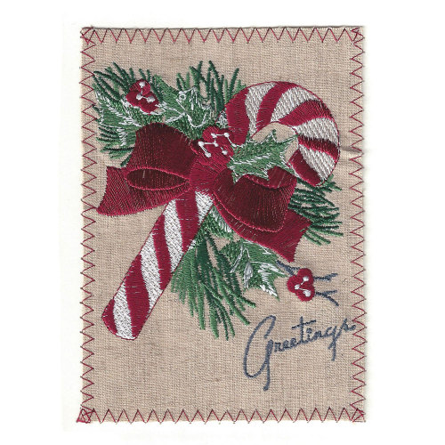 Candy Cane Christmas Embroidered Linen Card