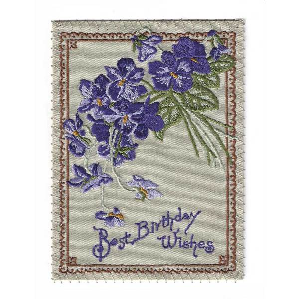 Lavender Flowers Birthday Embroidered Linen Card