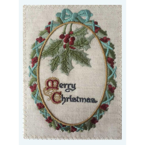 Merry Christmas Holly Embroidered Linen Card