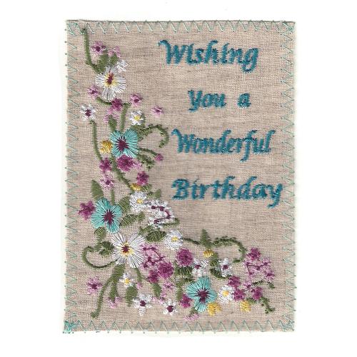 SALE!  Wonderful Birthday Embroidered Linen Card