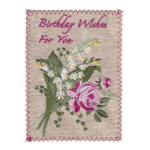 Birthday Wishes Embroidered Linen Card