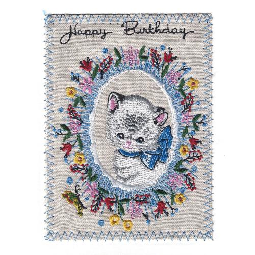SALE!  Birthday Kitten Embroidered Linen Card