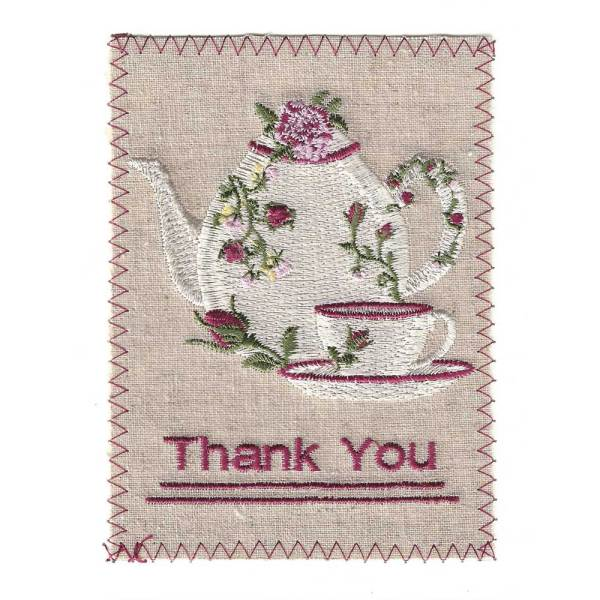 Endearing Embroidered White Teapot Card