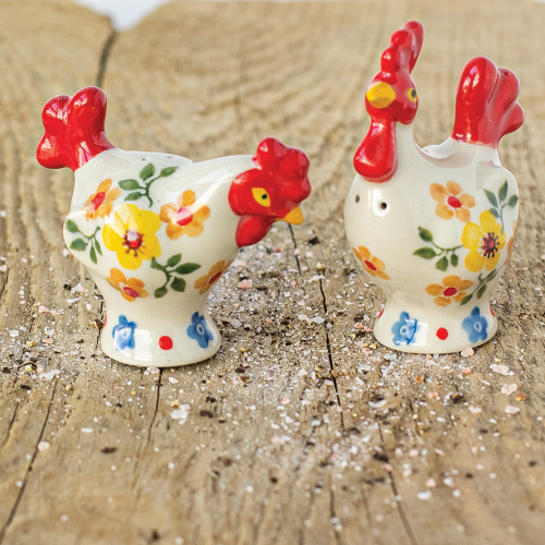 Hen & Rooster Salt & Pepper - Polish Pottery.