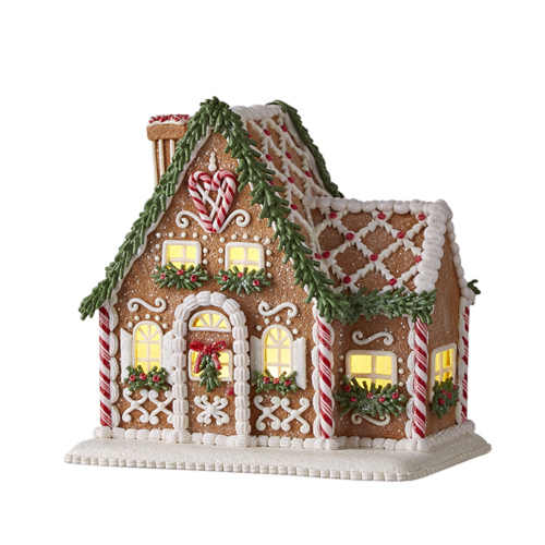 Gingerbread Lighted House with Chimney