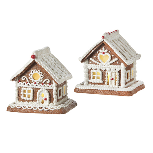 White Icing Lighted Gingerbread House