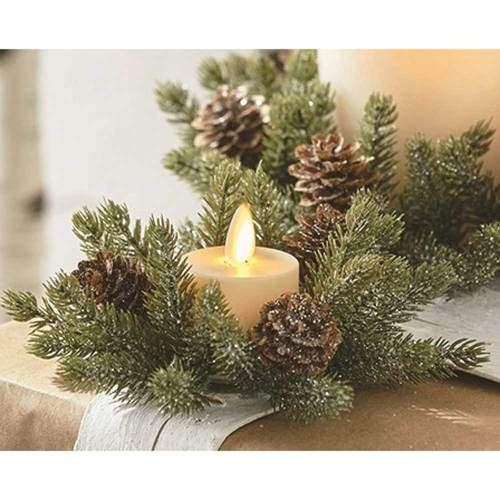 Iced Pine Candle Ring