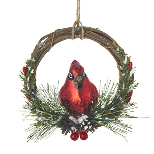 Cardinal On Wreath Ornament