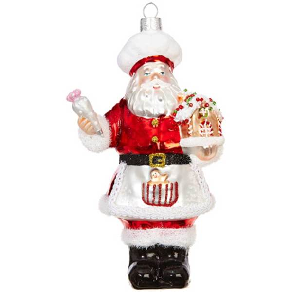 SALE!  Baker Santa Glass Ornament